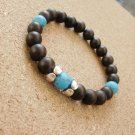 Mens Frosted Onyx and Turquoise Gemstone Beaded Bracelet