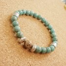 Mens Turquoise and Fossil Agate Beaded Bracelet