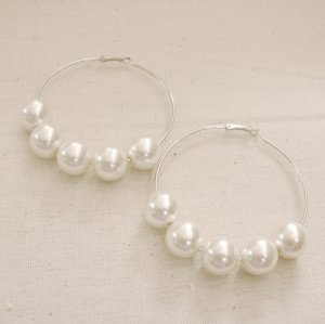 Giant Pearl Hoop Earrings