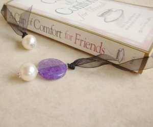 Purple Dragon Vein Agate Gemstone Beaded Bookmark Jewel Book Thong