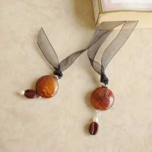 Brown Botswana Agate Gemstone Beaded Bookmark Jewels Book Thong