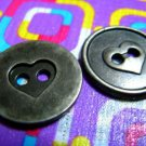 Destash Sale! 2 Gun Metal Heart Buttons