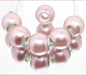 Destash Sale! Light Pink Pearl Beads Silver Core - 20 Pcs