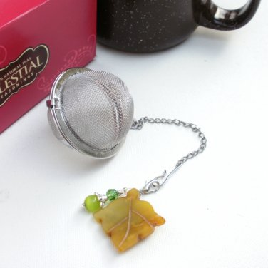 Tea Ball Infuser Strainer Steeper Gemstone Beaded Carved Jade Leaf