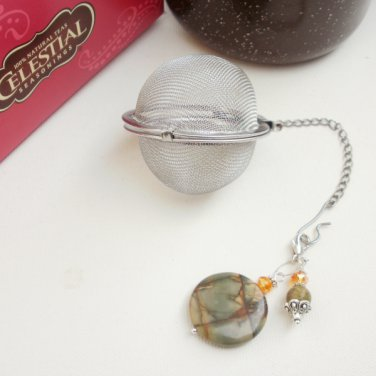 Tea Ball Infuser Strainer Steeper Gemstone Beaded Picasso Jasper