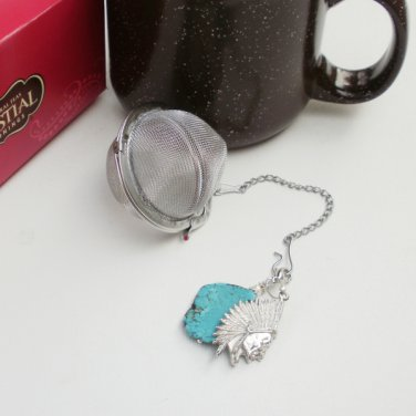 Tea Ball Infuser Strainer Steeper Gemstone Beaded Turquoise with Indian Head