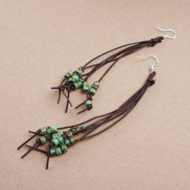 Beaded Green Brown Knot Leather String Earrings Seeded