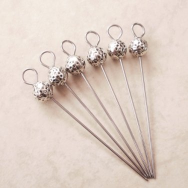 Silver Ball Beaded Party Appetizer Picks Set of 6
