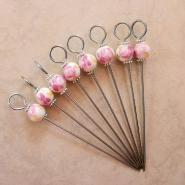 Porcelain Tea Rose Beaded Party Appetizer Picks Set of 8