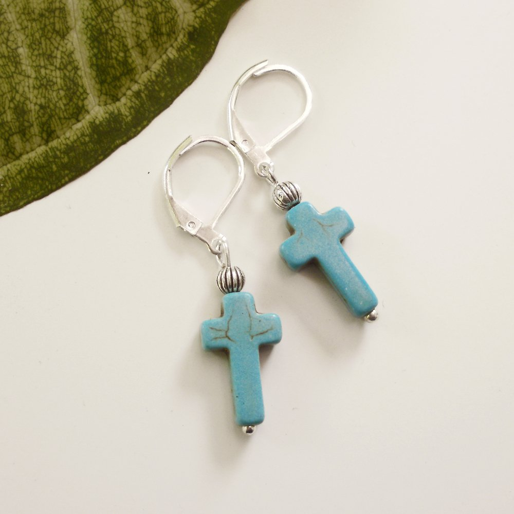 Small Turquoise Stone Cross Earrings II