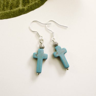 Small Turquoise Stone Cross Earrings