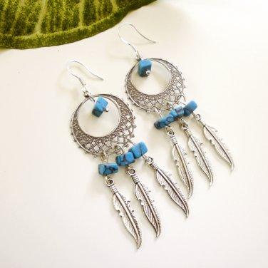 Silver Dreamcatcher Chandelier Dangle Earrings Turquoise Petite