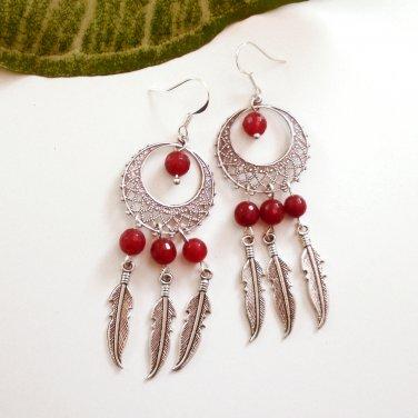 Silver Dreamcatcher Chandelier Dangle Earrings Red Agate Petite