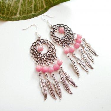 Silver Dreamcatcher Chandelier Dangle Earrings Rose Quartz