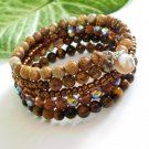 Bronze Multi-Layer Jasper Tiger Eye Beaded Wrap Bracelet