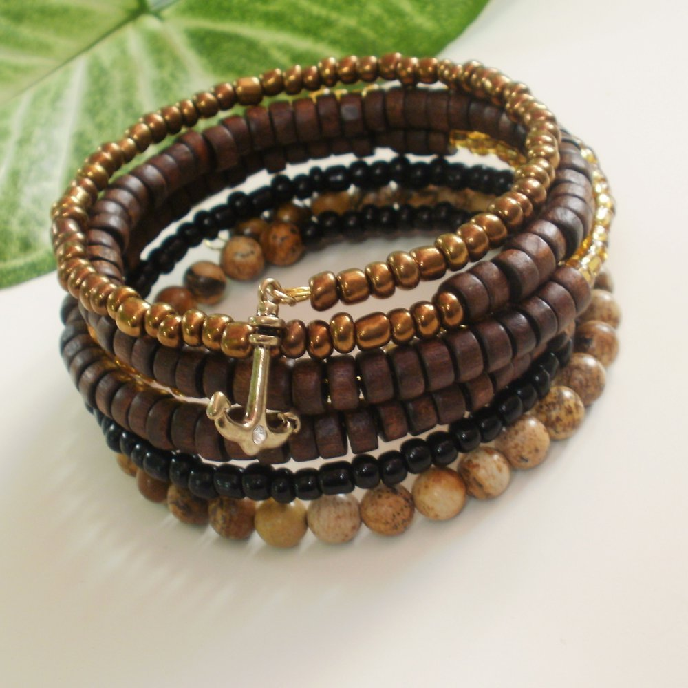 Brown Multi-Layer Jasper and Wood Beaded Wrap Bracelet