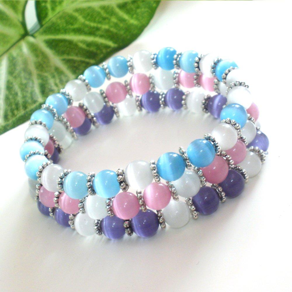 Stackable Cats Eye Glass Bracelet Set 3 Pcs