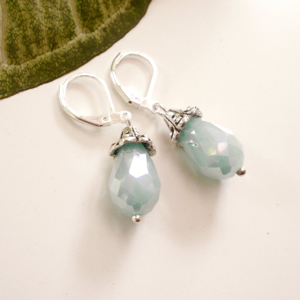 Aqua Sea Foam Color Crystal Glass Teardrop Dangle Earrings