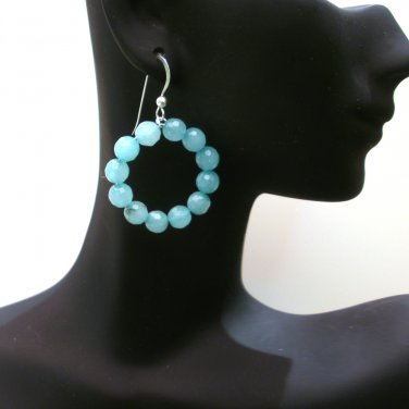 Amazonite Beaded Hoop Earrings