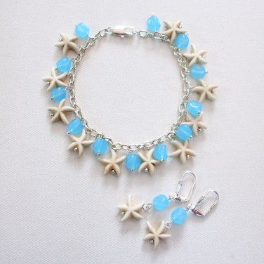 Starfish Sea Star Bracelet and Earring Set