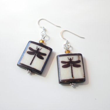 Batik Bone Dragonfly Earings