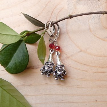 Mini Garden Gnome Earrings with Crystals Red