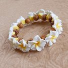 Tropical Macadamia Wood and Plumeria Bracelet