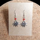Alpine Edelweiss Earrings with Glass Crystals
