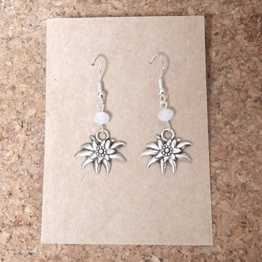 Alpine Edelweiss Bridal Earrings with White Glass Crystals