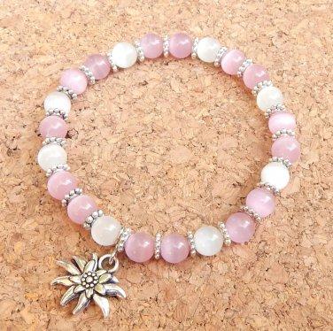 Octoberfest Pink Edelweiss Bracelet Fiber-Optic Cats Eye Glass
