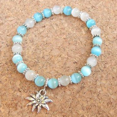 Octoberfest Blue Edelweiss Bracelet Fiber-Optic Cats Eye Glass
