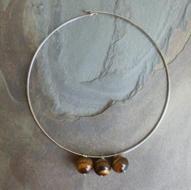 Unusual Brown Tiger Eye Gemstone Necklace