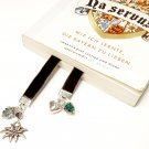 Flexible Beaded Black Velvet Bookmark with Edelweiss and Heart
