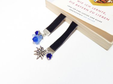 Flexible Beaded Black Velvet Bookmark with Edelweiss and Bluebell