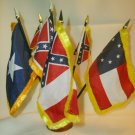 CSA Flag Set with Gold Fringe and Holder