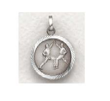 "Karate - Sterling Silver Sports Medal  (20"" chain) SM8594SH"