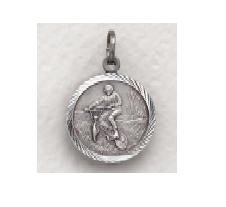 "Off Road Bike w/St Christopher - Sterling Silver Sports Medal (20"" chain) SM8573SH"