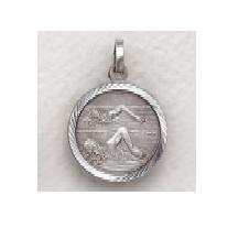 "Girls Swimming - Sterling Silver Sports Medal (20"" chain) SM8597SH"