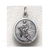 "Off Road Bike - Sterling Silver Sports Medal (20"" chain) SM8579SH"