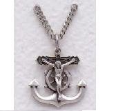"Boys Sterling Silver Crucifix on Anchor w/Ship's Wheel (24"" chain) SX7844SH"