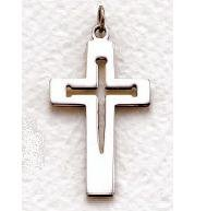 "Mens Sterling Silver Cross (24"" chain) SX8289SH"