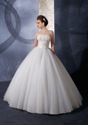 Exquisite noble cinch waist ball gown hi lo wedding dress for Cinched waist wedding dress
