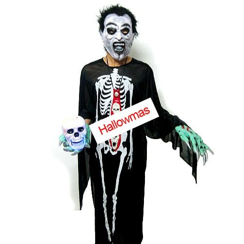 Halloween Skeleton Ghost Costume Set 5 Pcs D65607