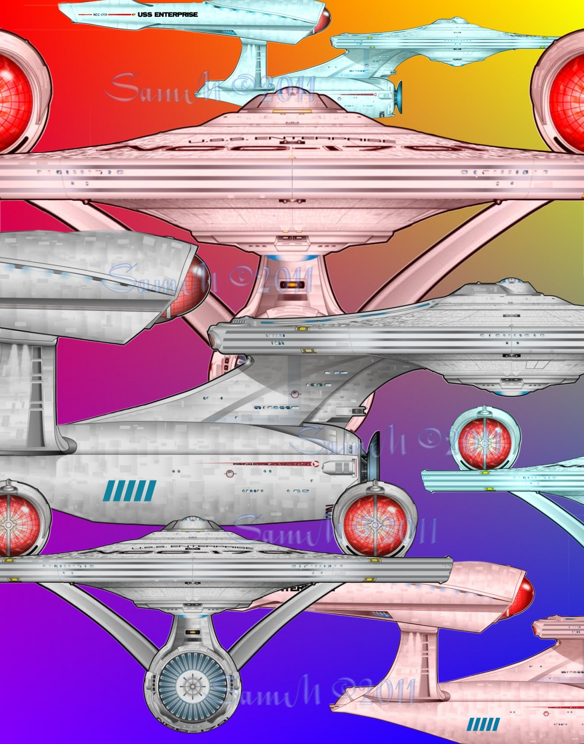 Star Trek 2009 USS Enterprise Spectrum 8x10 Print, Abstratct Digital Fine Art Image Photo