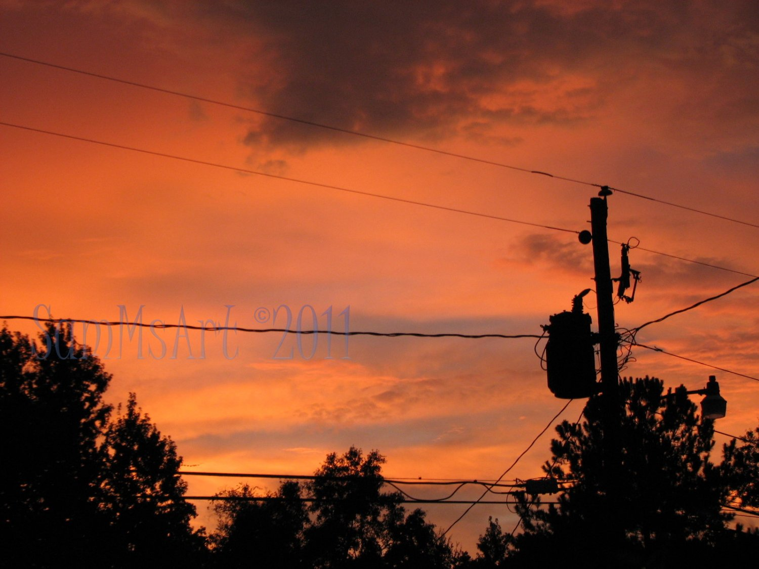 August 32 - 8x10 Print, Digital Fine Art Image Photo - Sunset, summer, fall, Power lines, Clouds