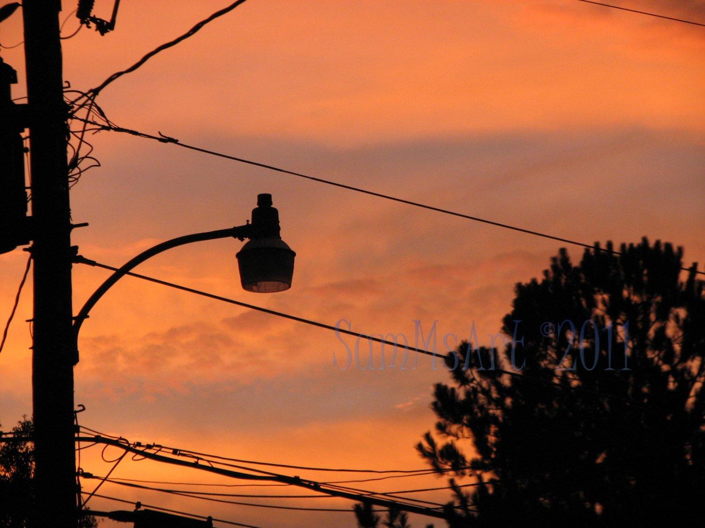 August 29 - 8x10 Print, Digital Fine Art Image Photo - Sunset, summer, fall, Power lines, Clouds
