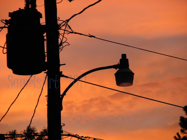August 28 - 8x10 Print, Digital Fine Art Image Photo - Sunset, summer, fall, Power lines, Clouds