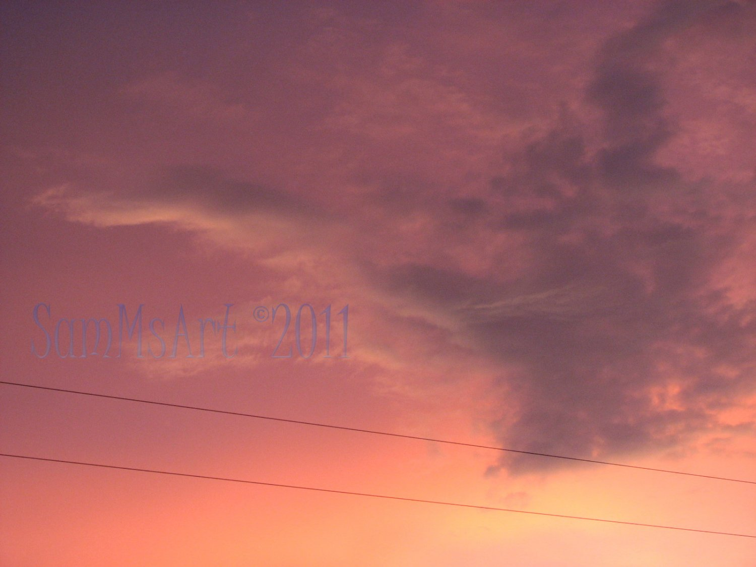 August 33 - 8x10 Print, Digital Fine Art Image Photo - Sunset, summer, fall, Power lines, Clouds