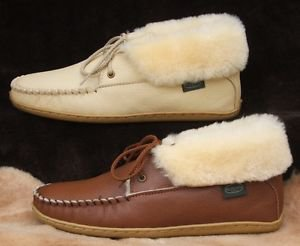 Womens Deertan Leather Sheepskin Slippers Molded Soles Ankle-High  Sizes 4-10 US