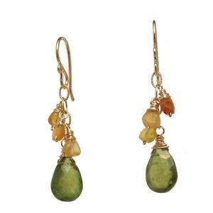 "Artisan Gemstone Earrings Carnelian Idocrase 14K Gold Filled 1-3/4"" Handmade USA"